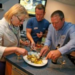 Judges tucking in at Sharps Connoisseur Cook off