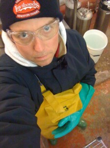 Jeff during a marathon bottling session in the cold