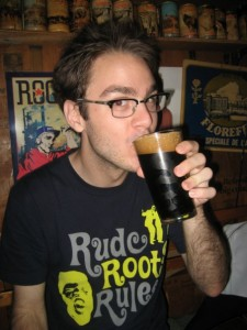 Masterchef Tim supping stout (shameleslly stolen from his blog)