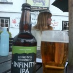 Coniston Infinity IPA and Olivers light ale outside the black bull