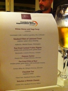 Cumbrian Beer Appreciation Group Meal Menu