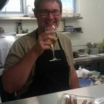 Enjoying a beer in Nathan Outlaw's Kitchen