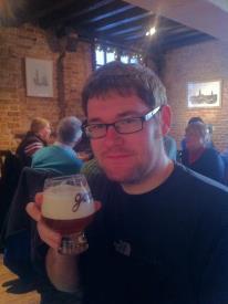 Trying the De Garre house beer